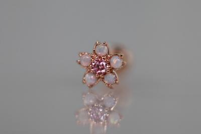 ピンクダイヤモンド × 天然ミルキーオパール