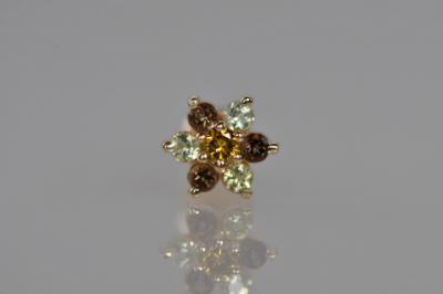 ゴールデンイエローダイヤモンド × ペリドット × スモーキークォーツ