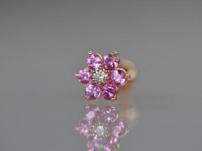 ダイヤモンド VVS-E × 天然ピンクサファイア