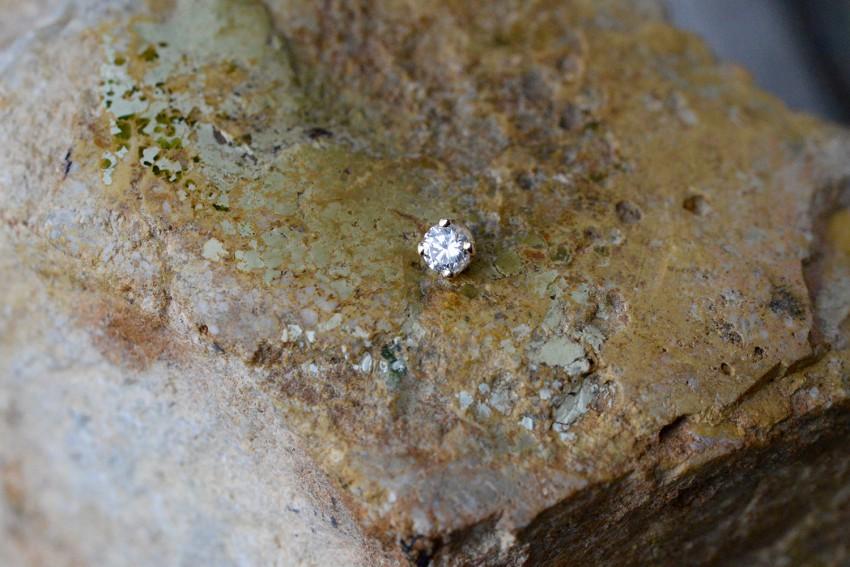 14K YG プロング 3ミリ ダイヤモンド VS-F