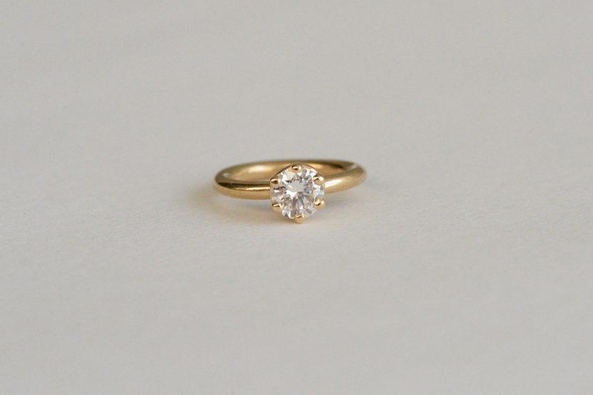 14K YG プロング 3,5ミリ ダイヤモンド VS-F