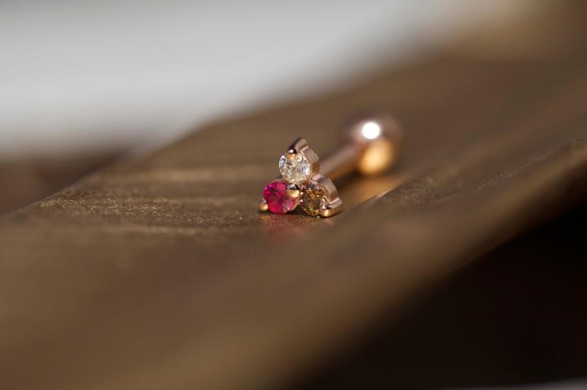 ダイヤモンド × ブラウンダイヤモンド × ルビー